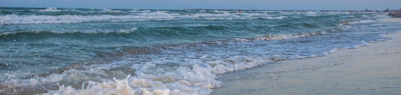 Waves crashing on a Texas beach